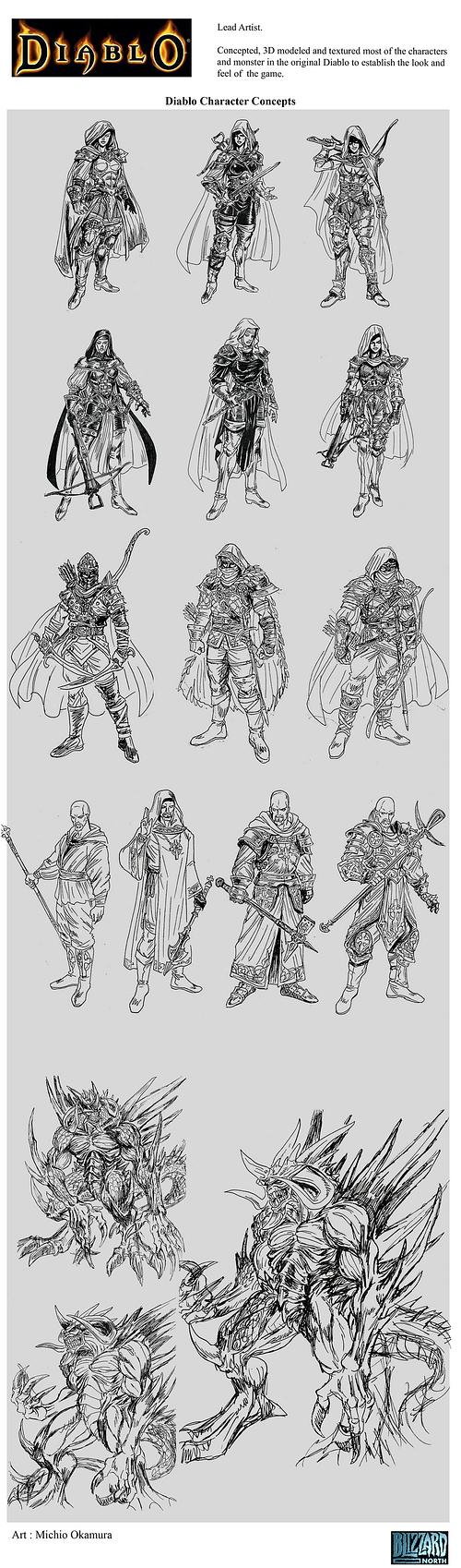 Diablo 1 Unseen Art by Michio Okamura. Diablo Character Concepts.