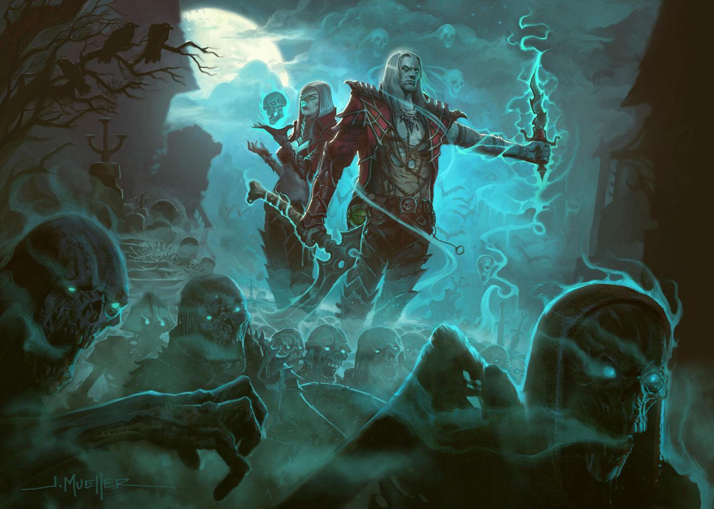 Diablo III: изображение некромантов из интернет-магазина Blizzard Gear